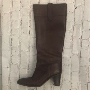 J CREW BROWN TALL LEATHER HEEL BOOTS 9 WOMEN